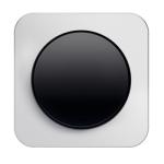R1 - Выключатель 1-клавишный, рамка алюминий, клавиша черная, глянец