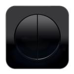 R1 - Выключатель 2-клавишный, рамка и клавиши черные, глянец