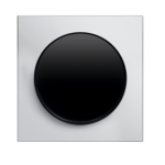 R3 - Выключатель 1-клавишный, рамка алюминий, клавиша черная, глянец