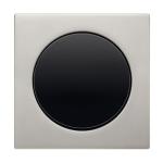 R3 - Выключатель 1-клавишный, рамка нержавеющая сталь, клавиша черная, глянец