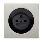 R3 - Розетка со штырем заземления, черная. Рамка алюминий