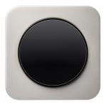 r1 - Выключатель 1-клавишный, рамка нержавеющая сталь, клавиша черная, глянец